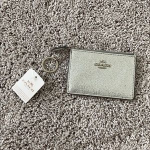 Coach Silver Glitter Mini Card Holder Wallet